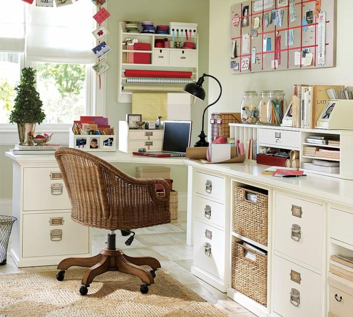 büroeinrichtungen bürostuhl teppich aufbewahrungskörbe praktische ideen