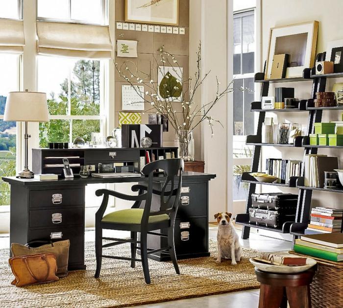 büroeinrichtungen home office ideen stilvoll dunkle möbel