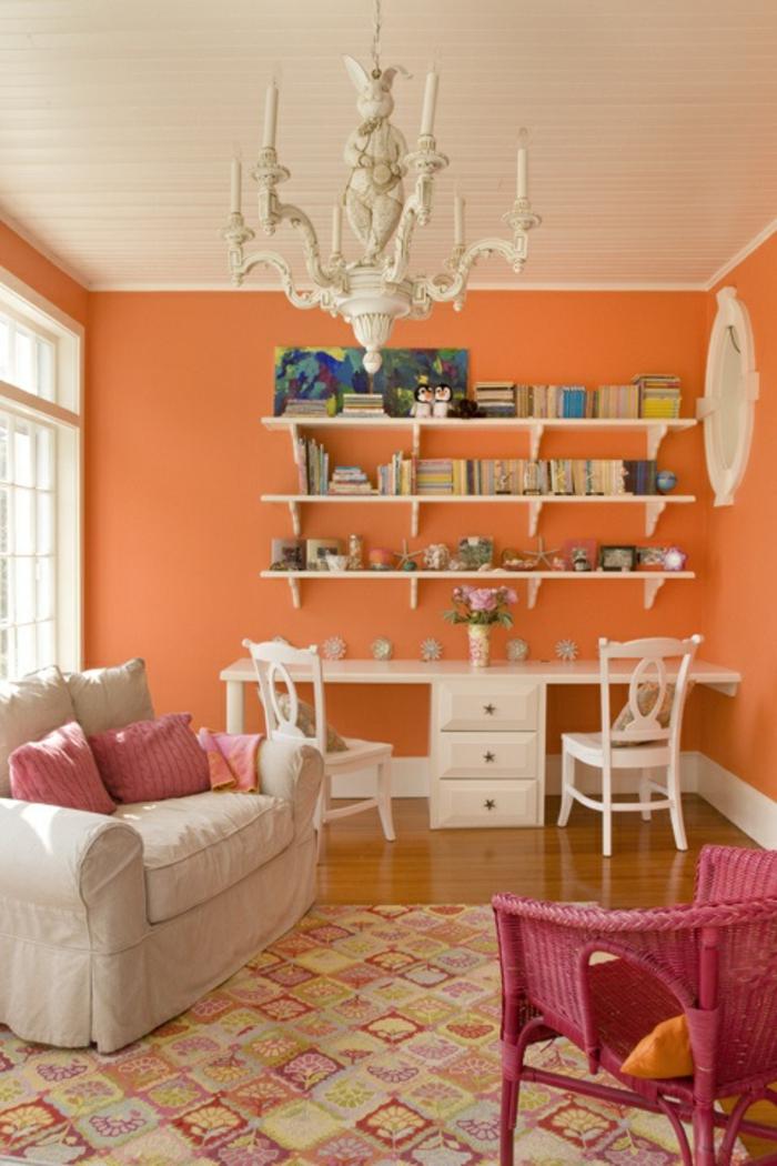 büroeinrichtungen kleines office orange wandfarbe