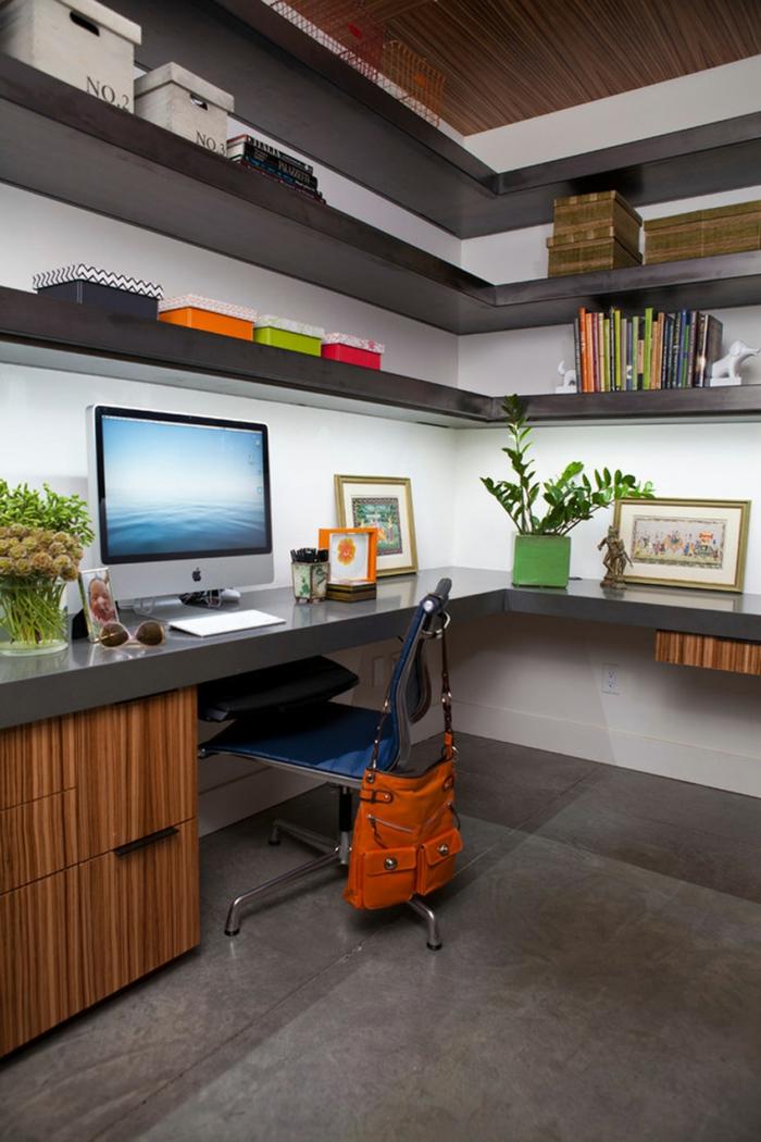 büroeinrichtungen modernes home office eckmöbel pflanzen stauraum