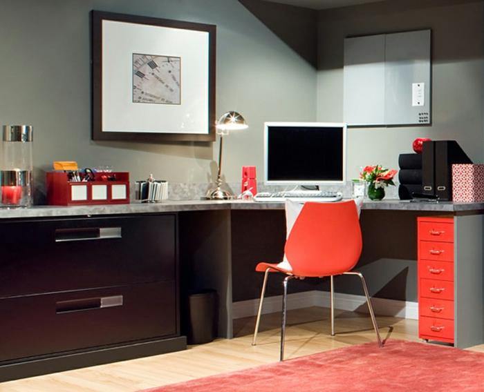 büroeinrichtungen oranger stuhl eckschreibtisch oranger teppich