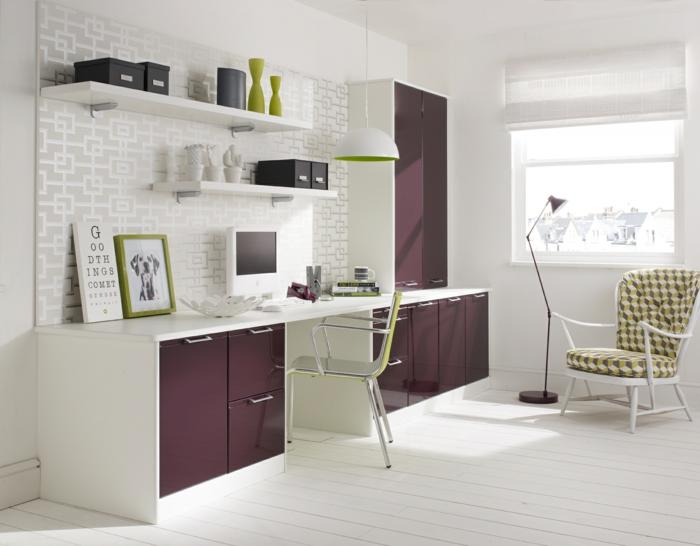 büroeinrichtungen weiß lila home office gestalten