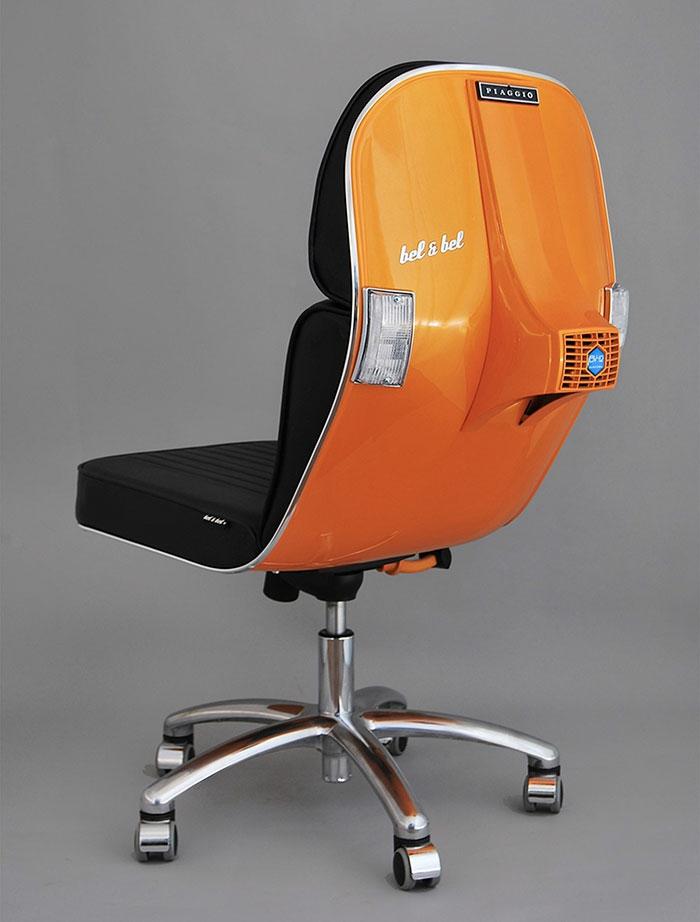 bürostuhl orange recycling ideen vespa alte motorroller büromöbel