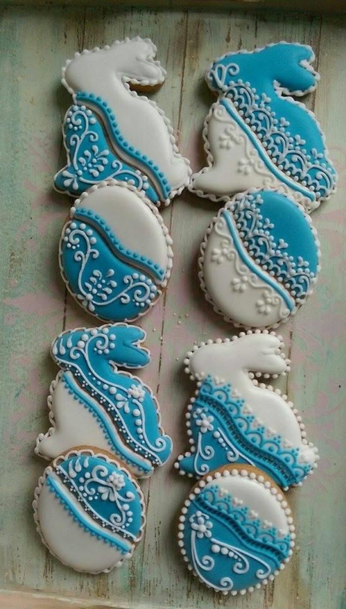 backen ostern osterplätzchen hasen ostereier blau weiß