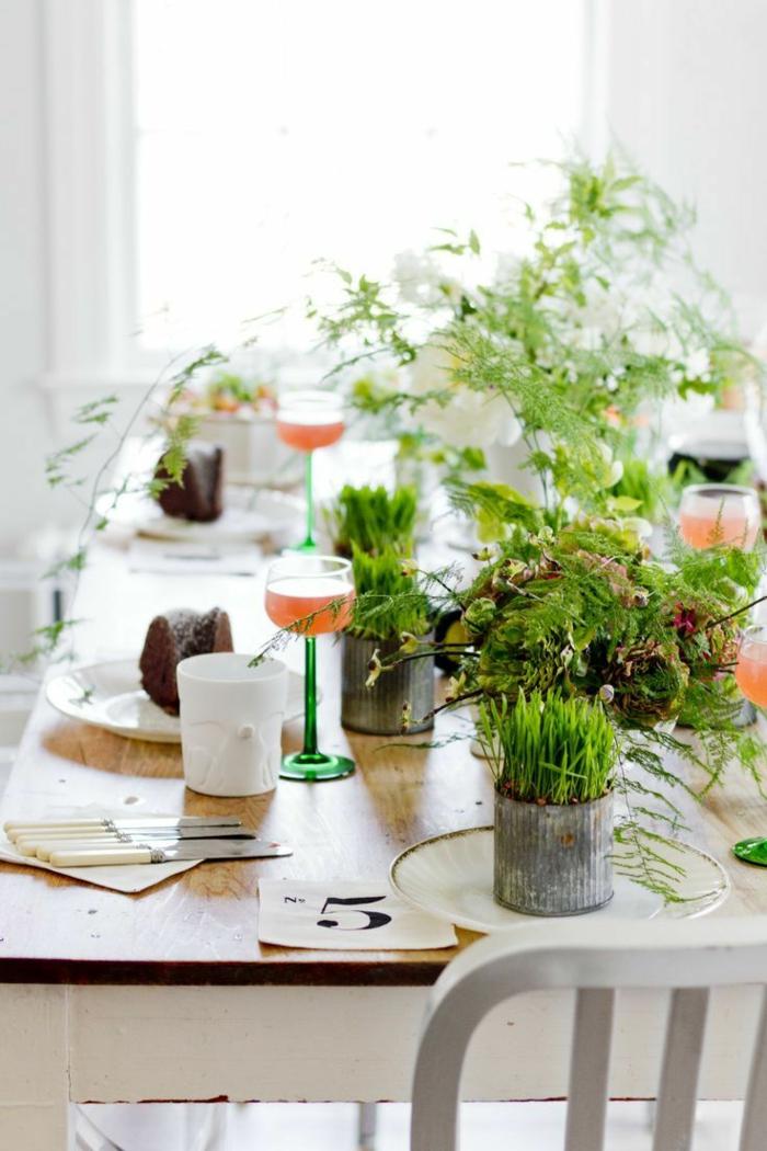 bastelideen frühling tisch dekorieren grün dekoideen