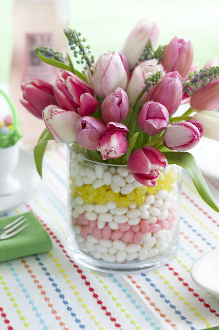 bastelideen frühling tischdeko tulpen farbig frisch