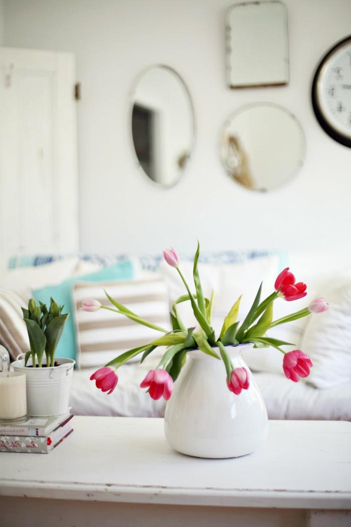 bastelideen frühling tulpen vase dekoideen