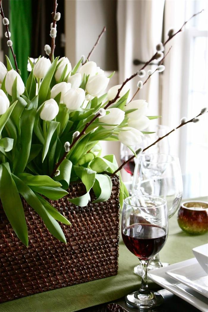 bastelideen frühling weiße tulpen tischdeko ideen