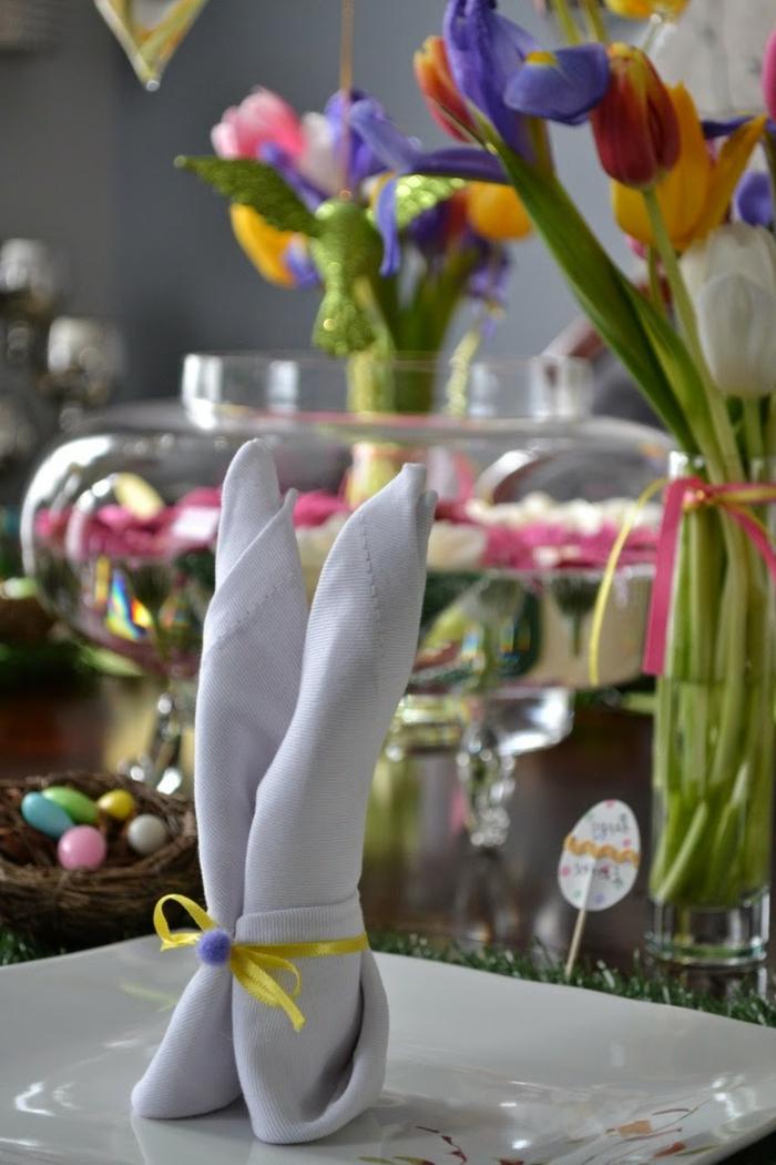 bastelideen ostern osterhase serviette festliche tischdeko