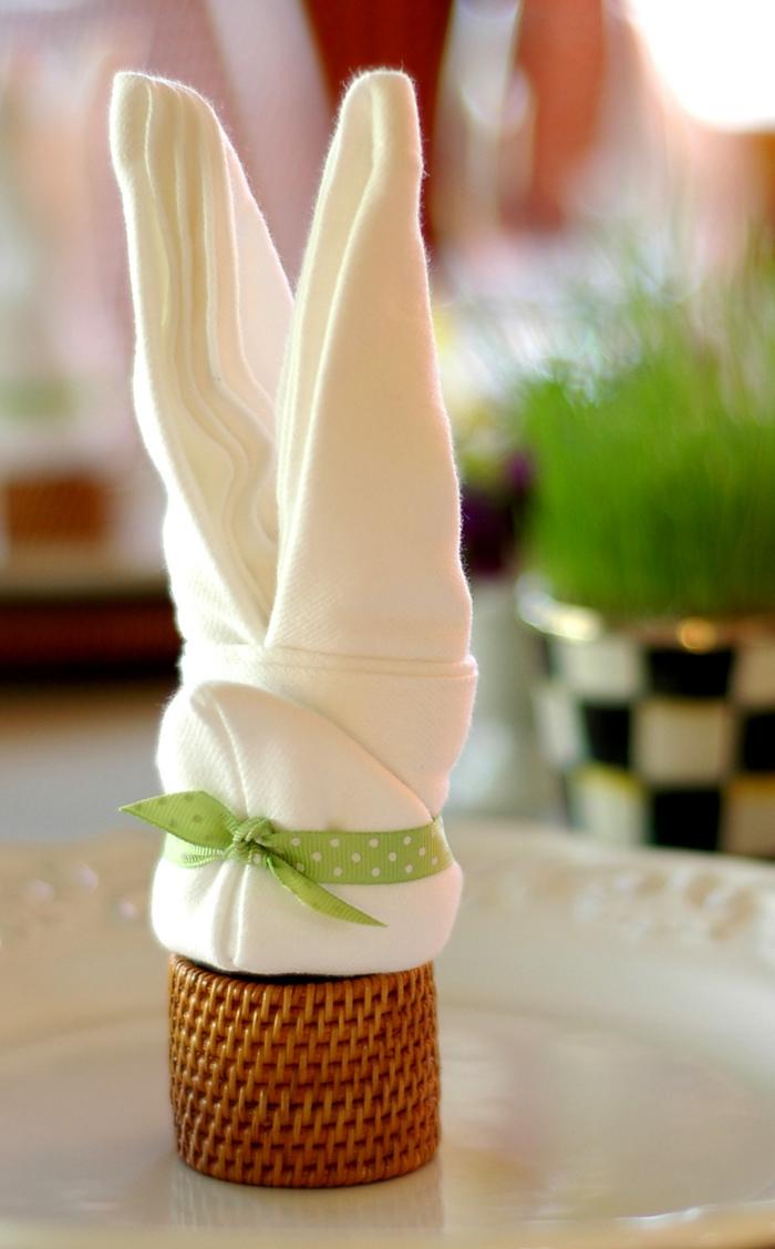 bastelideen ostern servietten falten hase tischdeko