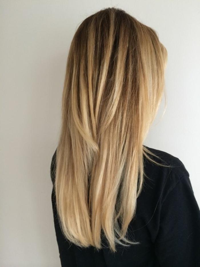blondtöne ombre stil lang lifestyle frisuren