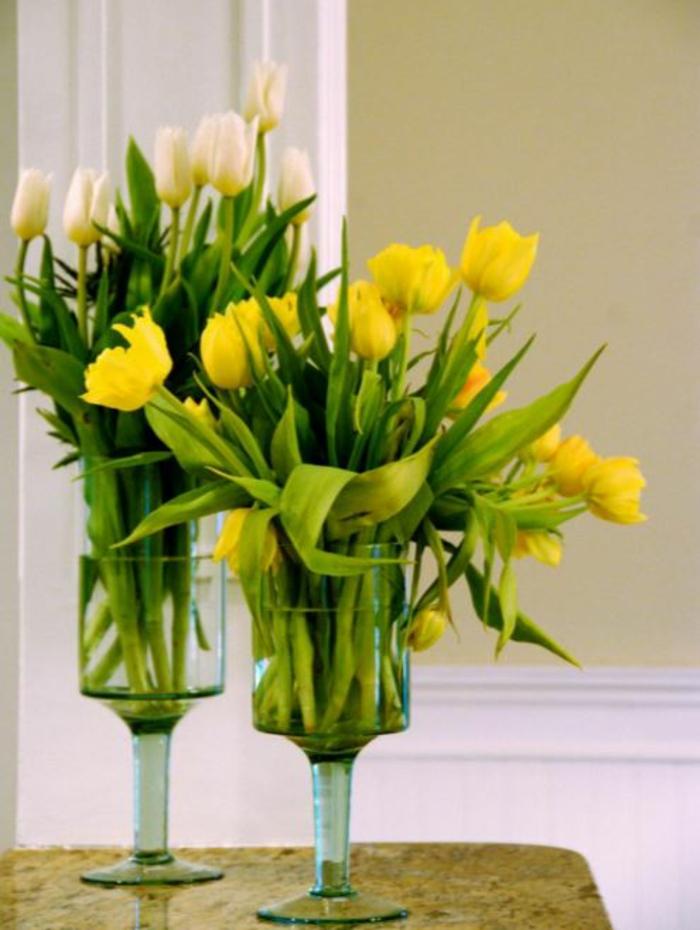 tischdeko begonien tulpen