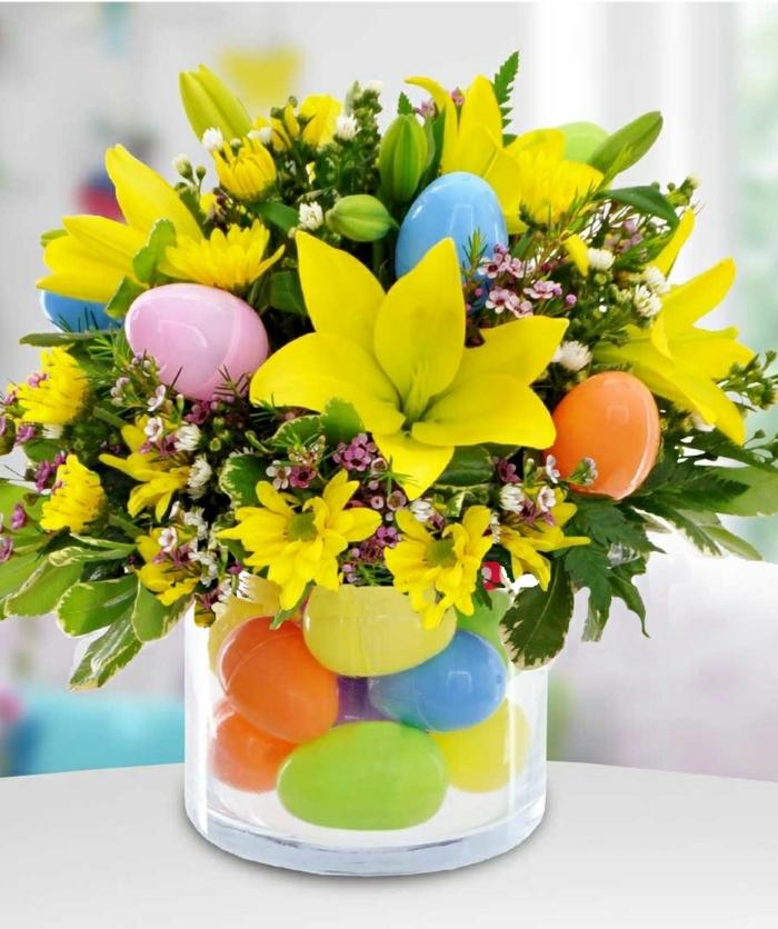 tischdeko bunt frisch exotisch gelbe frühlingsblumen