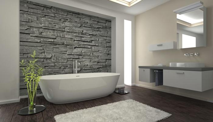 bodenbelag bad badideen weißer teppich pflanze steinwand