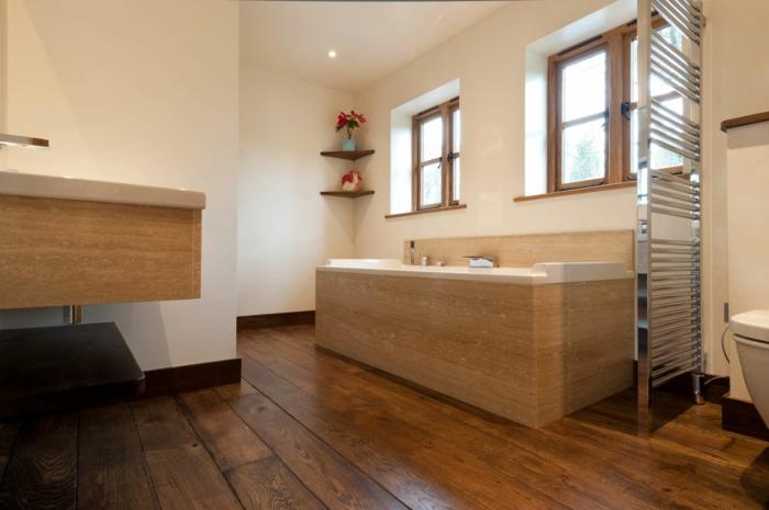 bodenbelag bad holz badewanne helle wände