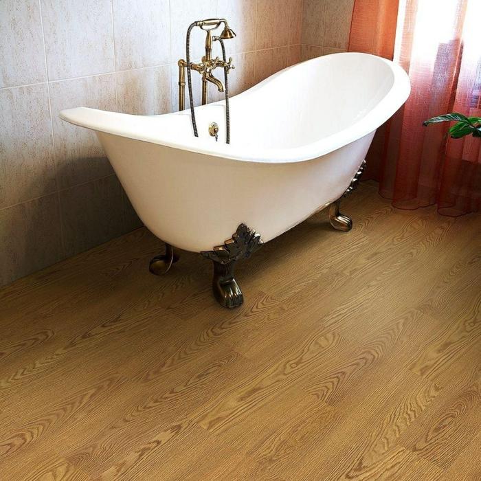 bodenbelag design badezimmer gestalten vinyl holzlook wandfliesen