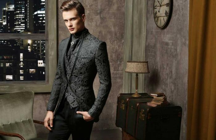 bräutigam mode anzug vintage florale muster weste maestrami