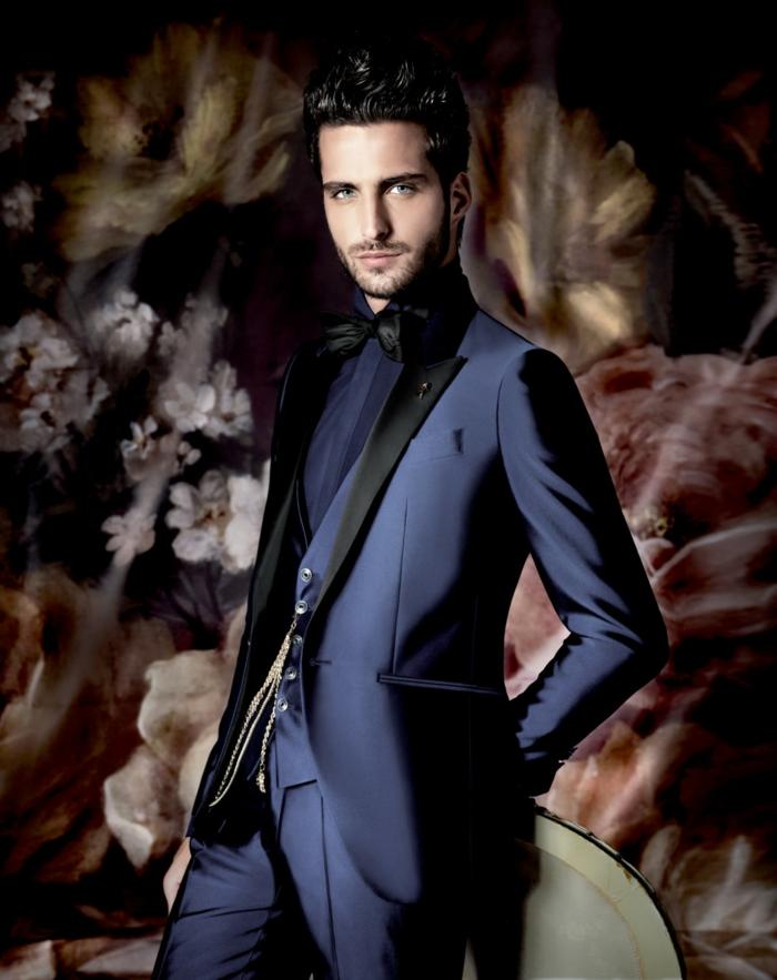 bräutigam mode dunkelblau anzug sakko fliege hose carlo pignatelli