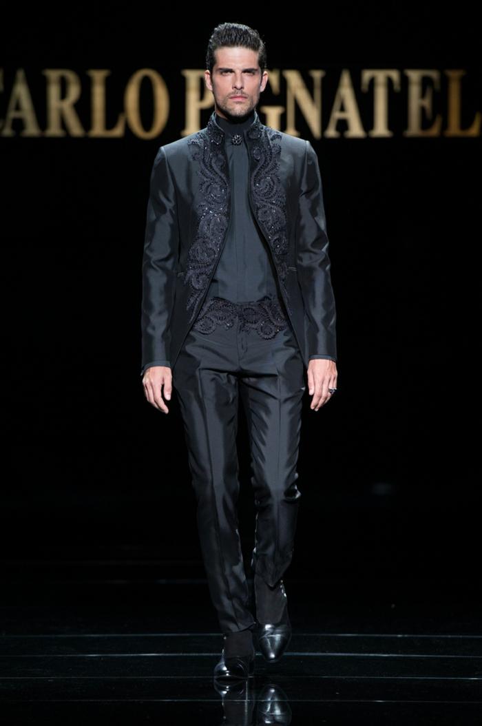 bräutigam mode eleganter anzug herrenmode schwarz satin haute couture carlo pignatelli 2016