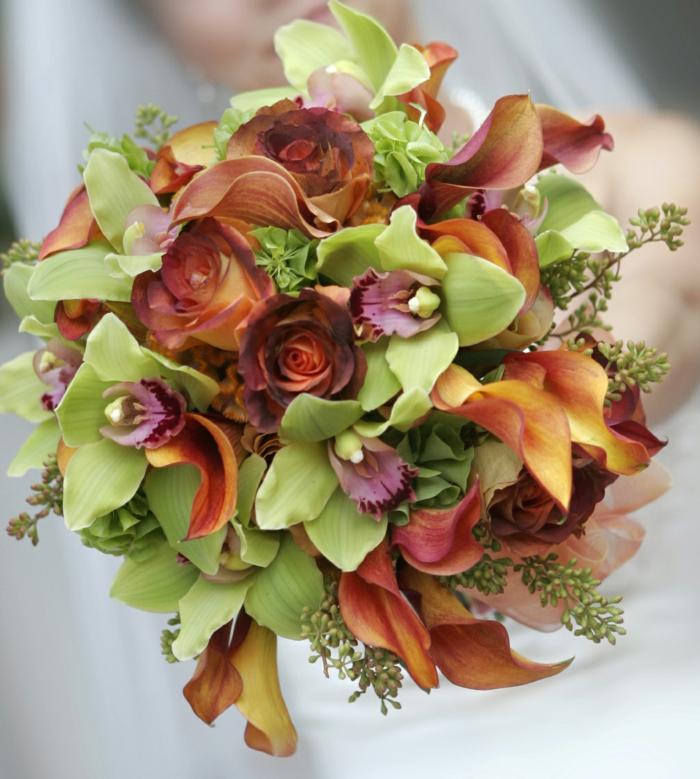 brautstrauß hochzeit orange rosen gelbe orchideen