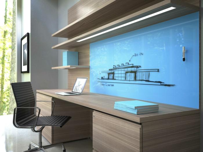 bueroeinrichtung modern ergonomisches home office wandregale schreibtisch bürostuhl