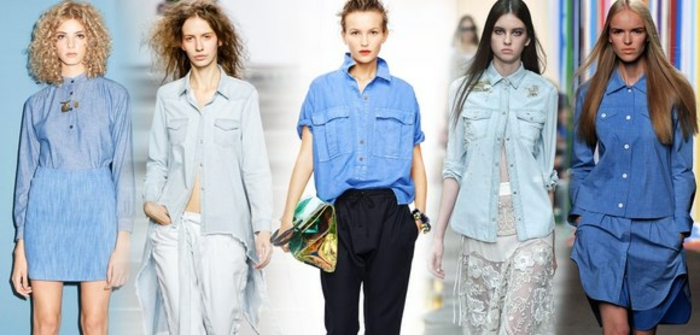 damenblusen tendenzen damenmode 2016 blaue töne damenhemden jeans