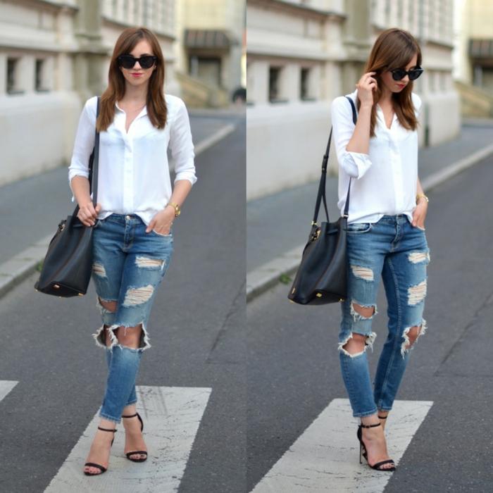 damenblusen tendenzen damenmode 2016 frühling sommer casual weißes hemd blaue jeanshose