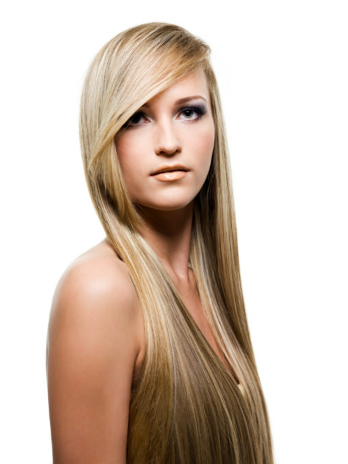 damenfrisuren haar trends blond lang glatt