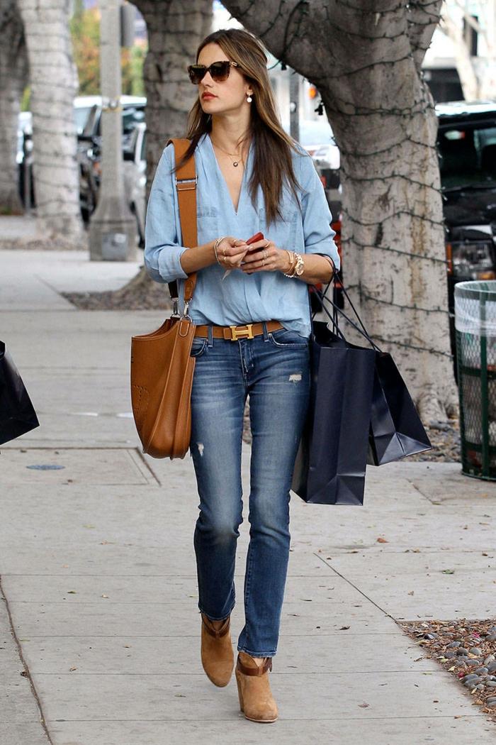 haengetasche damenmode casual elegant jeanshose bluse leder hängetasche