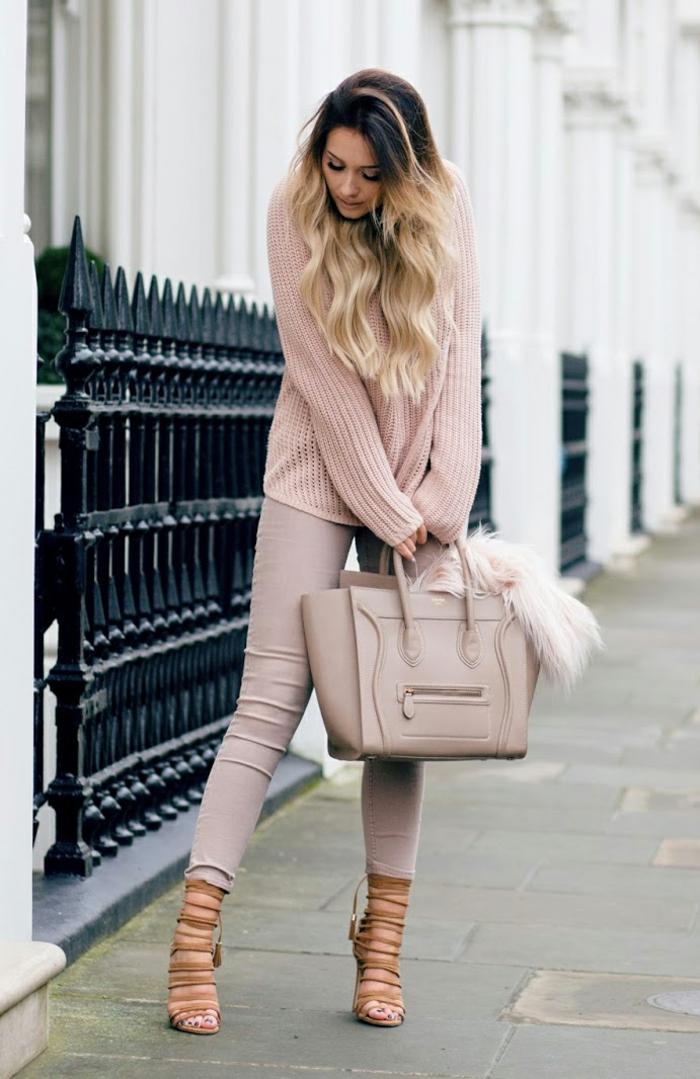 damentasche damenmode casual elegant pullover sandalen ledertasche nude farben