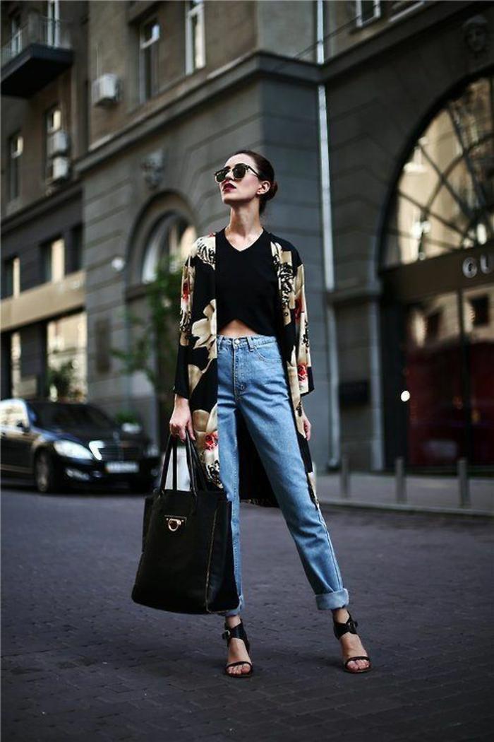 damentasche damenmode casual fashion urban style jeanshose matel schwarze ledertasche