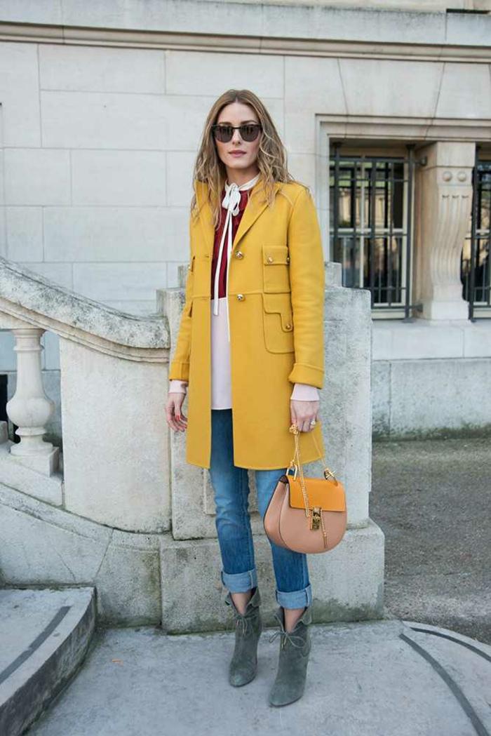 haengetasche damenmode casual gelber mantel kleine designer tasche