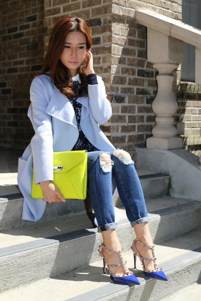 damenmode casual jeanshose mantel kleine tasche neongelb
