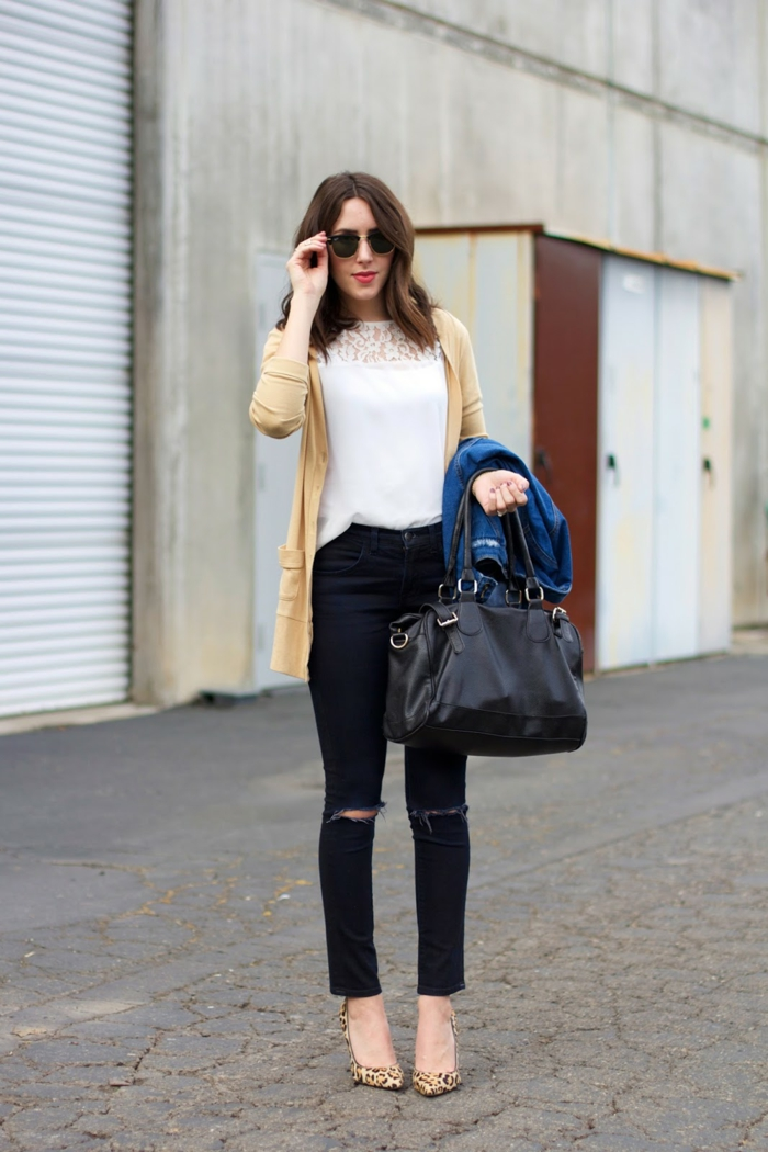 damentasche casual trends schwarze ledertasche