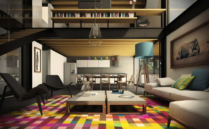 deko tipps wohnzimmer farbiger teppich offener wohnplan