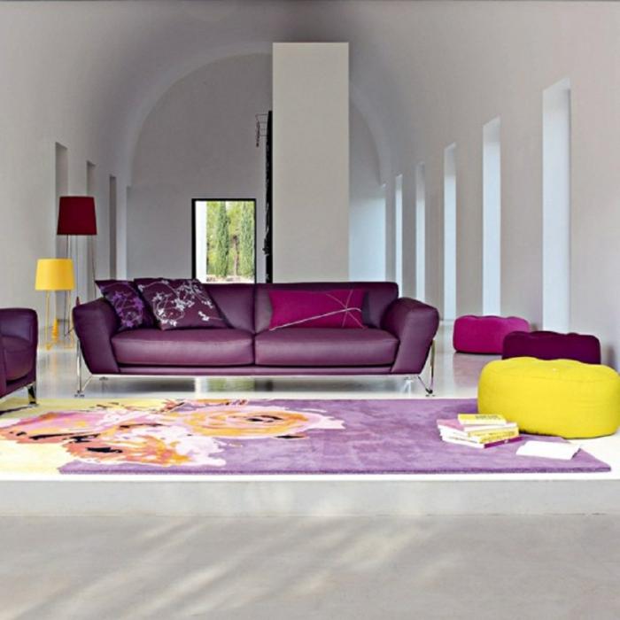 lila wohnzimmer deko mit farben einrichten wandfarben m bel und accessoires. Black Bedroom Furniture Sets. Home Design Ideas