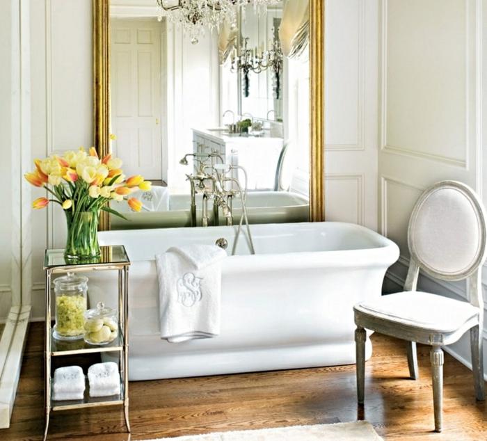 dekoideen frühling baddekoration badesalz grün frei stehende badewanne