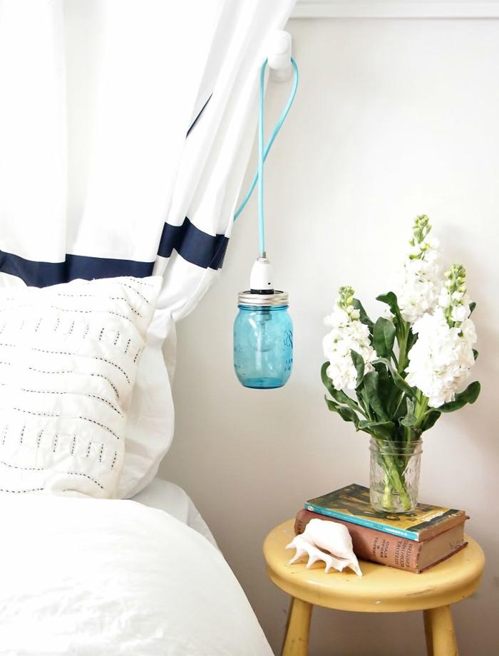 dekoideen frühling blumen schlafzimmer dekorieren hängeleuchte