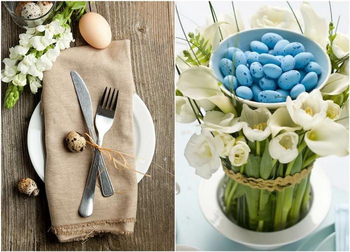 dekoideen frühling diy ideen tischdekoration puristisch wachteleier weiße tulpen