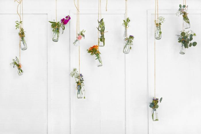 dekoideen frühling diy ideen wanddekoraton einweckgläser frühlingsblumen