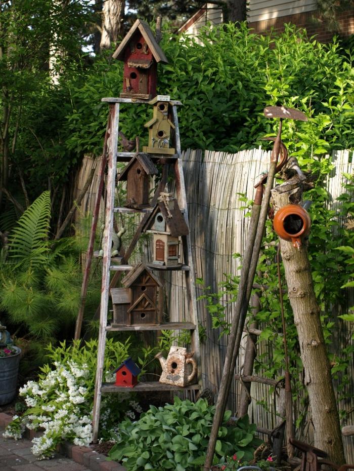 dekoideen frühling garten dekorieren treppe vogelhäuschen