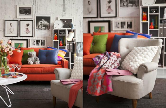 dekoideen frühling möbel selber dekorieren dekokissen kissenhüllen decken sofa fotos