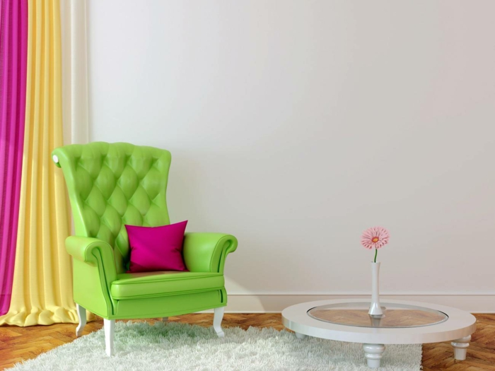 dekoideen frühling möbel selber dekorieren frische farben apfelgrün gelb magenta
