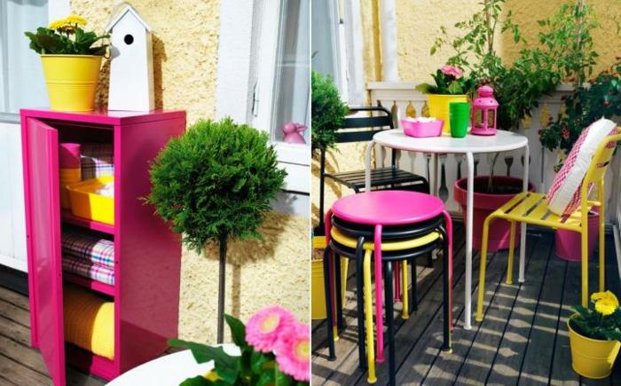 dekoideen frühling möbel selber dekorieren frische farben balkongestaltung terrasse schränke stühle tisch