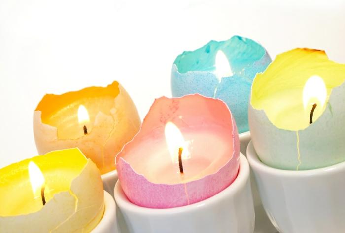 dekoideen frühling osterdeko selber machen eierschalen kerzen gießen pastellfarben