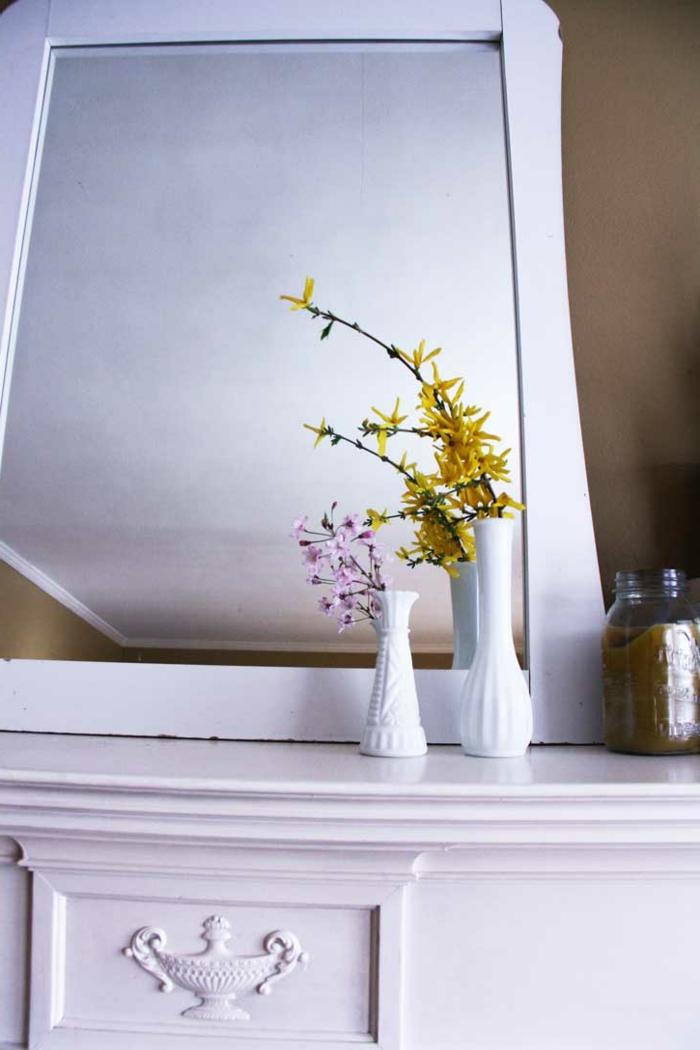 dekoideen frühling weiße dekovasen spiegel