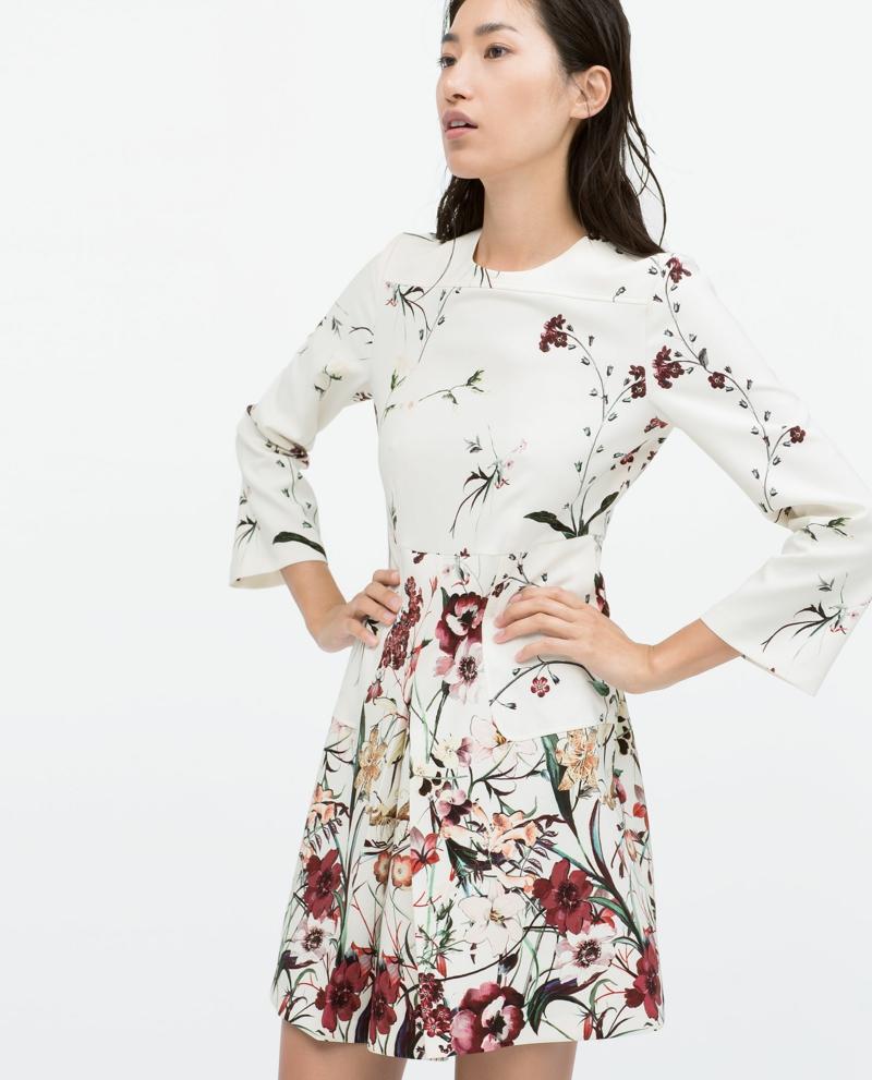 elegante Sommerkleider Blumenkleid weiß Blumenprint