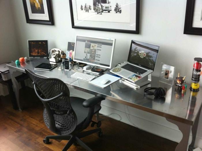 ergonomische büroeinrichtung home office bürostuhl schreibtisch rechner laptop