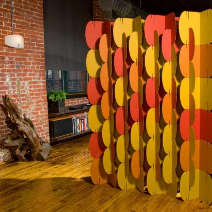 Raumteiler Ideen paravent raumtrenner vintage bunt