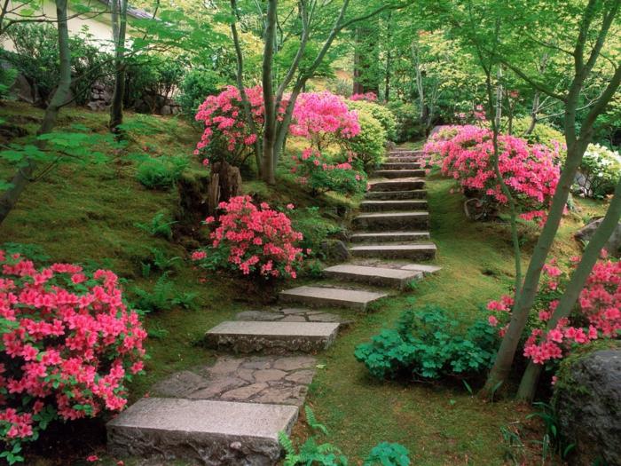 garten gestaltung landschaft gestalten ideen gartenweg farbige blüten